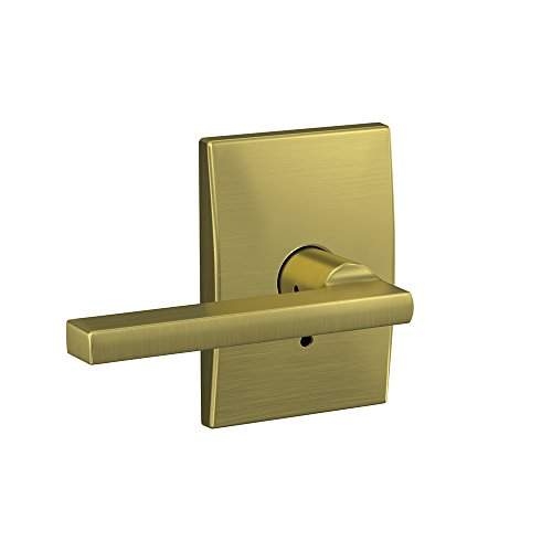- Schlage Custom FC21 LAT 608 CEN Latitude Lever with Century Trim Hall-Closet and Bed-Bath Lock, Satin Brass