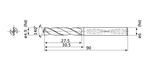 Mitsubishi Materials MVS0490X03S060 Series MVS Solid Carbide Drill 6 mm Shank Diameter 0.9 mm Point Length 3 Hole Depth 4.9 mm Cutting Dia Internal Coolant
