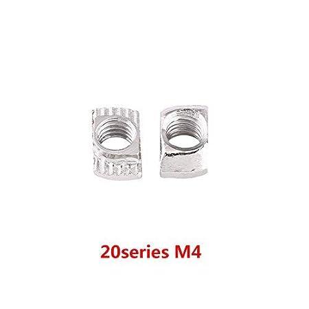 EU20-M5*10 * 6 50pcs /Écrous en T Winc Plaqu/é en Acier au Carbone Vis /à T/ête de Marteau pour Profil en Aluminium Menuiserie