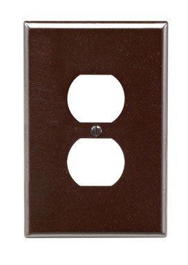 Leviton 001-85103-BRN Single Gang Brown Duplex Receptacle Wallplate
