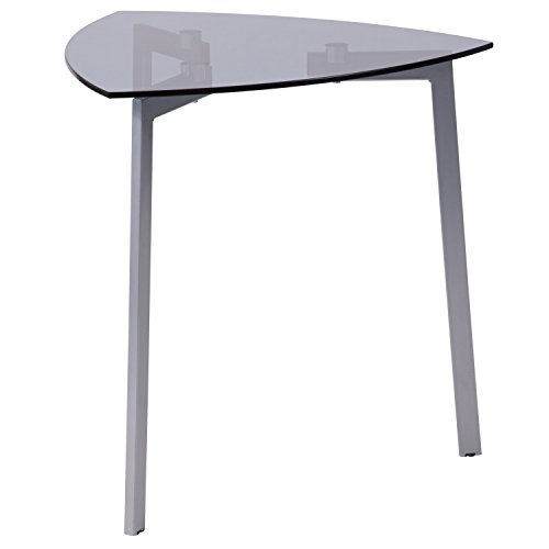 Flash Furniture Brighton Collection Smoked Glass Triangular Side Table with Silver Metal Legs – NAN-JH-1722-GG
