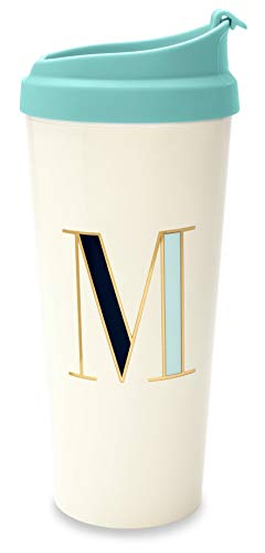Monogram Travel Mugs - Kate Spade New York Women's Initial Thermal Travel Mug Tumbler, 16oz, M (Blue)