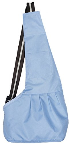 Adjustable Sling Pet Carriers Heads Out for Dogs/ Cats; Messenger Style Travel Pet Pouch; Hands Free Tote Bag (L, Blue)