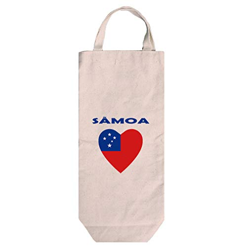 (Heart Love Samoa Cotton Canvas Wine Bag Tote With Handles Wine Bag Natural)