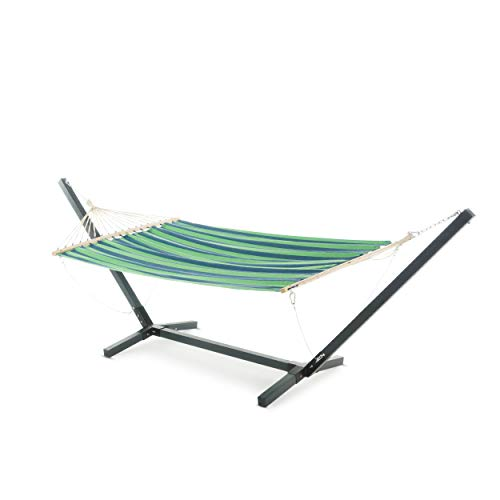 Weston Patio Furniture | Outdoor Blue and Green Striped Water Resistant Hammock with Grey Larch Wood Frame (Furniture Larch Outdoor Wood)