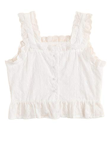 - SheIn Women's Sleeveless Ruffle Lace Embroidered Button Up Cami Tank Top Blouse X-Large White