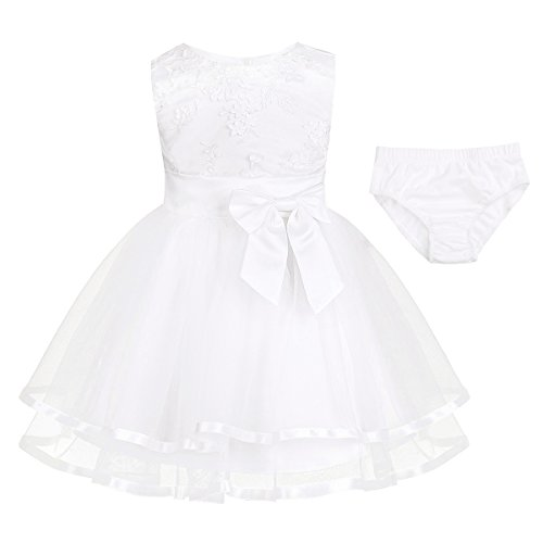 - iEFiEL Newborn Baby Girls Embroidered 3D Flower Baptism Christening Gown Wedding Birthday Party Tutu Dress with Bloomers White 0-3 Months