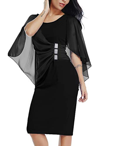 LALAGEN Womens Chiffon Plus Size Ruffle Flattering Cape Sleeve Bodycon Party Pencil Dress Black XXL