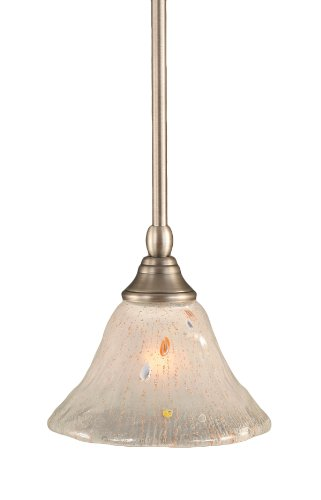 Toltec Lighting 23-BN-751 Stem Mini-Pendant Light Brushed Nickel Finish with Frosted Crystal Glass, (Brushed Nickel Mini Pendant Stem)