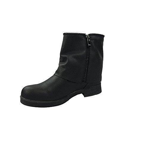 THILTRADING® - Chaussure Mode Bottine motard cavalier femme Noir Talon Bloc 3 cm - TT4873
