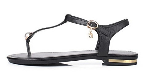 Low Heels PU VogueZone009 Women's Sandals Buckle Split Black Toe qwqxSUC
