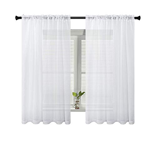 SUO AI TEXTILE Voile White Sheer Curtains Rod Pocket Elegance Window Panels for Bedroom Kids Room Kitchen 54W x 63L Inch 2 Panels