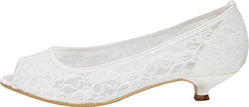 Bride Smart 5 Fashion White Heel Toe 0700 Kitten 37 Prom Mesh Work EU Bridesmaid Comfort Ladies Dress Sandals Peep Wedding Party 06E wqIEREAWnf