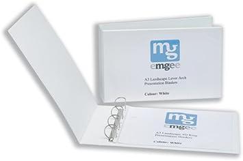 Emgee 570520 - Archivador de 4 anillas en D (formato A3, lomo de 50 mm, 2 unidades), color blanco: Amazon.es: Oficina y papelería