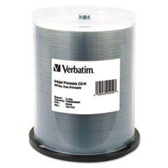 Verbatim® VER95252 HUB IJ PRINTABLE CD-R DISCS, 700MB/80MIN, 52X, SPINDLE, WHITE, 100/PACK **Full Carton Of:4 PK **