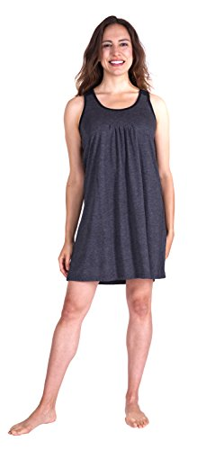 Cool-jams Pleated Front Scoop Neck Sleeveless Nightgown (X-Large, Midnight)