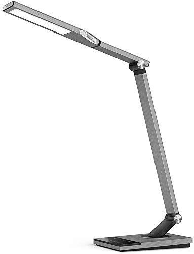 TaoTronics Lámpara Escritorio LED 12W Flexo Oficina con USB 5V/ 2A iSmart(5 Temperaturas de Color, 6 niveles de Brillo…