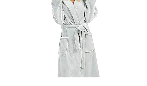 545f4ad6fc Amazon.com  Nacome Womens Hooded Fleece Robes Plush Comfy Soft Warm Gown  Housecoat Bathrobe (Gray