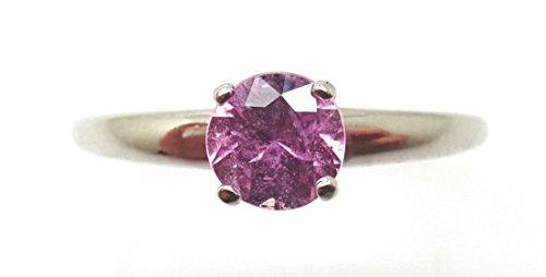 - 14k Gold .65ct Round Genuine Natural Pink Sapphire Ring (#J3805)