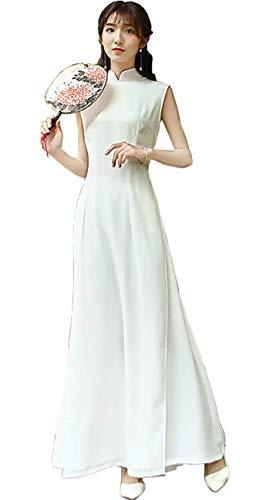 ca51b5d541cf9 パーティードレス ホワイト ロング アオザイ風チャイナドレス 袖なし ベトナムドレス 白 二次会ドレス 花嫁