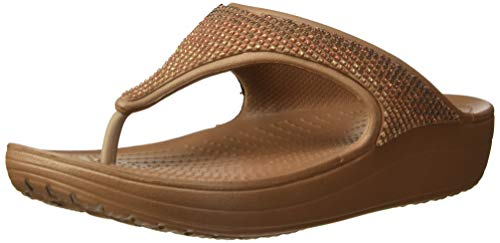 Embellished Platform - Crocs Women's Sloane Ombre Diamante Flip Flat Sandal Melon Bronze, 11 M US