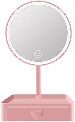 ポータブル化粧鏡 旅行のミラーを充電デスクトップミラーミラーの嘆きトーンの明るさ3〜5倍ズームUSB 回転式化粧鏡 (色 : ピンク, Size : 17.5cm)