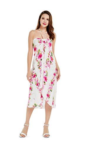 Women's Hawaiian Luau Halter Floral Print Halter Dress M Pink Hibiscus Vine