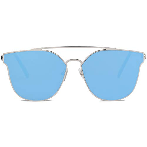 SOJOS Fashion Mirrored Sunglasses Double Bar Flat Stainless Steel Frame SO SHINE SJ1100 with Silver Frame/Light Blue Mirrored Lens (Best Mirrored Sunglasses 2019)
