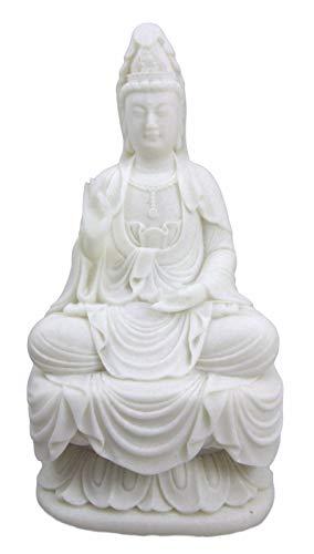 - ShopForAllYou Figurines and Statues 7 Inch Cream Toned Cold Cast Resin Seated Meditating Kuan Yin Goddess Buddha