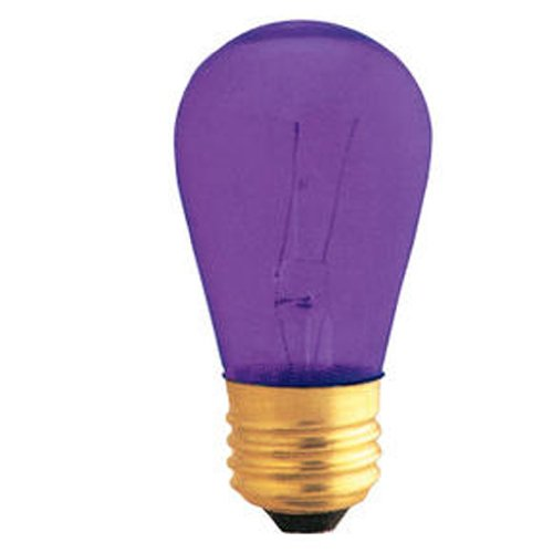 11w S14 Sign (25 Pack 11 Watt S14 Medium Base 130 Volt 2500 Hour Transparent Purple Sign or Indicator Lightbulb)