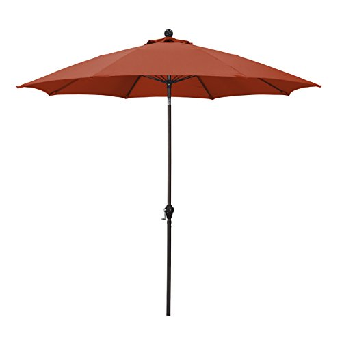 California Umbrella 9' Round Aluminum Pole Fiberglass Rib Umbrella, Crank Open, Push Button 3-Way Tilt, Bronze Pole, Brick Red