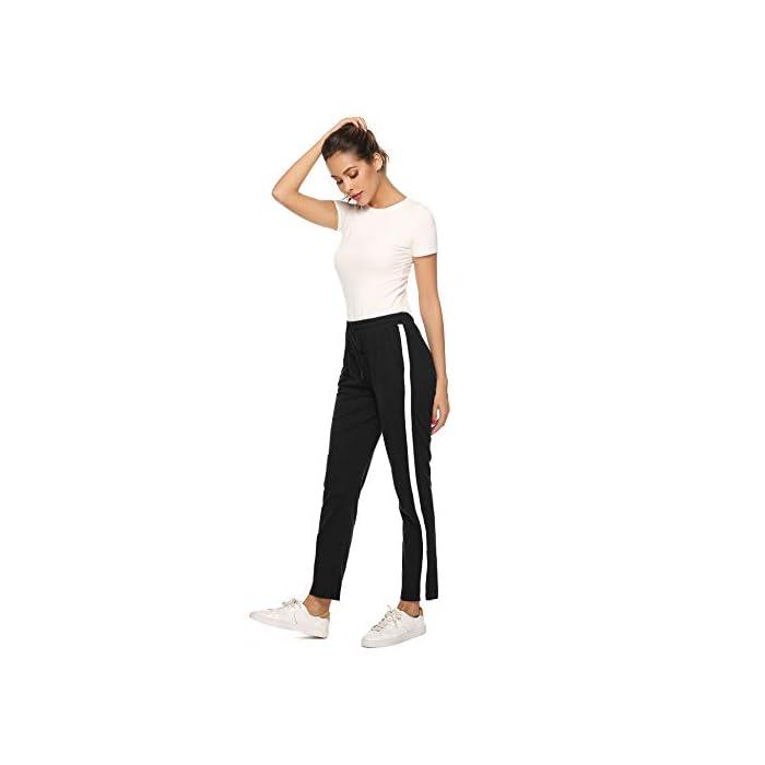 31rJH6RpPFL Pantalón largo para deportes, dormir y también para la calle. Los elegantes pantalones de ocio son adecuados para muchos deportes, correr, hacer ejercicio o en el gimnasio. Y también puede como un sudor informal en el tiempo libre. Pantalones de mujer con rayas en los laterales, con cintura elástica con cordón y dos bolsillos. 100% Algodón