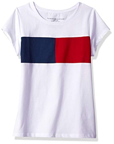 Tommy Hilfiger Big Girl's Big Girls' Tee Shirt, white, L12/14 (Tommy Hilfiger Jeans Shorts Women)