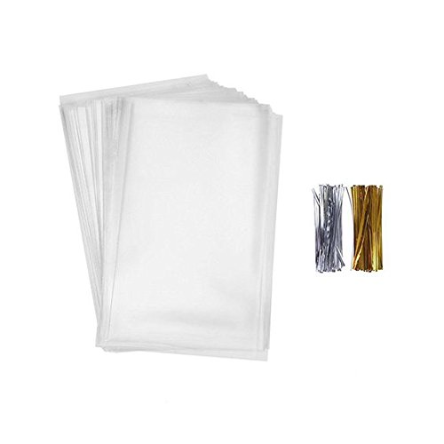 200 Pcs 7 in x 5 in Clear Flat Cello Cellophane Treat Bags(1.4mil) Good for Bakery, Cookies, Candies (Cello Treat)