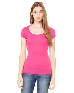 Ladies Sheer Rib Cap (Bella Womens Margot sheer Scoop Neck Cap Sleeve T Shirt - BERRY - X-Large)