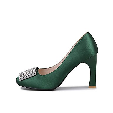 Talones de las mujeres Primavera Verano Otoño Invierno Club de zapatos de seda banquete de boda y vestido de noche del tacón de aguja brillo chispeante Negro Verde Rojo Black