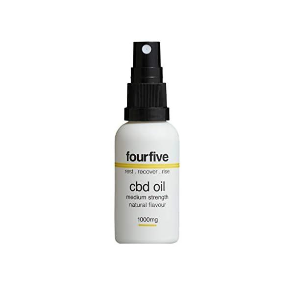 fourfive CBD Oil Spray, 1000mg Cannabidiol, Natural/Unflavoured, 30ml, clear