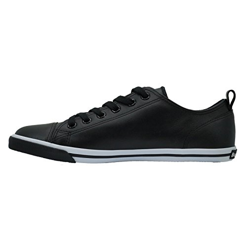 Burnetie Mænds Sort Læder Okse Vintage Sneaker clcAmSUk