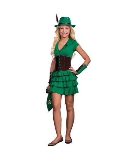 [Dreamgirl Juniors Robyn Da Hood 6-Piece Hem Dress and Faux Suede Waist Cincher, Green, X-Small] (Girls Robyn Hood Costumes)