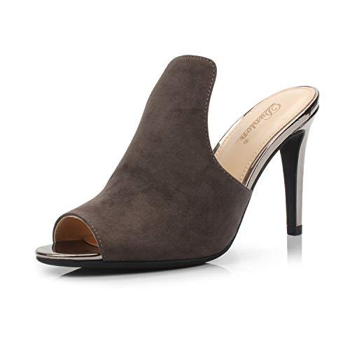 DUNION Women's Brody Comfortable Peep Toe Stiletto High Heel Dress Slip on Mules,Pewter,7.5 M US ()