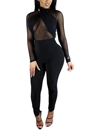 Womens Sexy Mesh See Through Long Bandage Jumpsuit Rompers Outfits L (Sexy Jumpsuits For Clubbing)