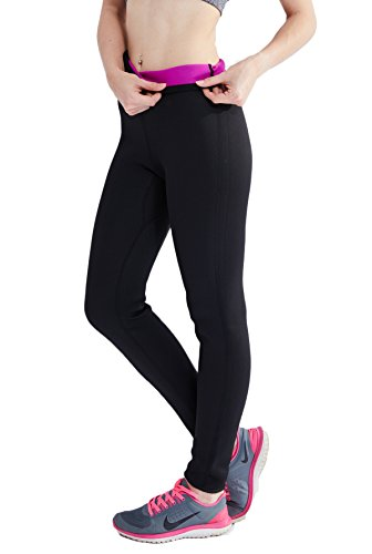 Ausom Womens Thermal Slimmer Super Sudomotor Fat- Burning Pure- Color Ninth Pants for Sports Hot Body Shaper