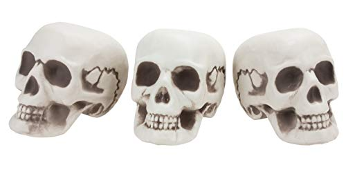 Halloween Skull Decoration - 3-Pack Plastic Mini Skeleton Skulls, Day of the Dead Decor, Novelty Horror Party Props and Accessories, 4.75 x 6.5 x 5.25 Inches -