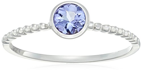 10k White Gold Tanzanite Solitaire Beaded Shank Stackable Ring, Size 7 (Gold Ring Tanzanite White Jewelry)
