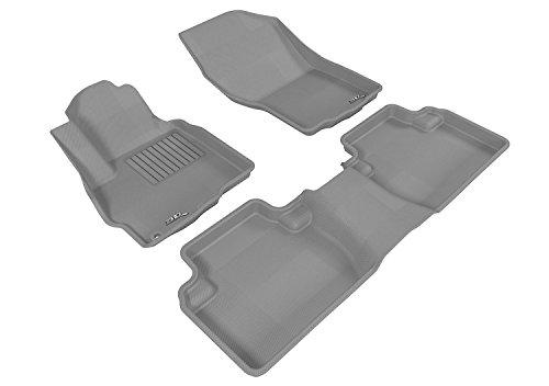 Mitsubishi Front Mat - 3D MAXpider Complete Set Custom Fit All-Weather Floor Mat for Select Mitsubishi Outlander Models - Kagu Rubber (Gray)
