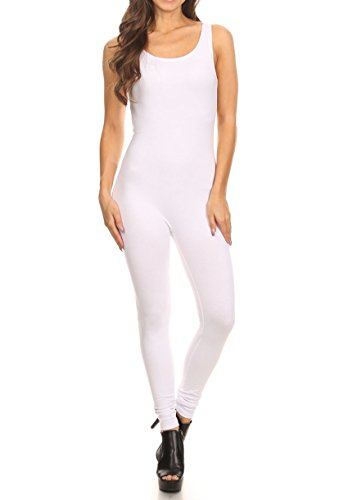 Leg Unitard - The Classic Womens Stretch Cotton Sleeveless One Piece Unitard Jumpsuit Bodysuits Small to Plus (1XL, White)