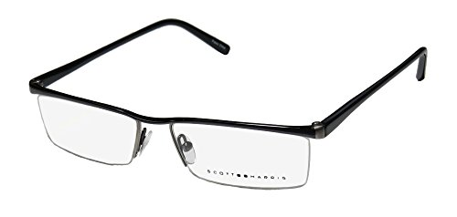 scott-harris-201-mens-designer-half-rim-eyeglasses-eyewear-53-15-140-gunmetal-black