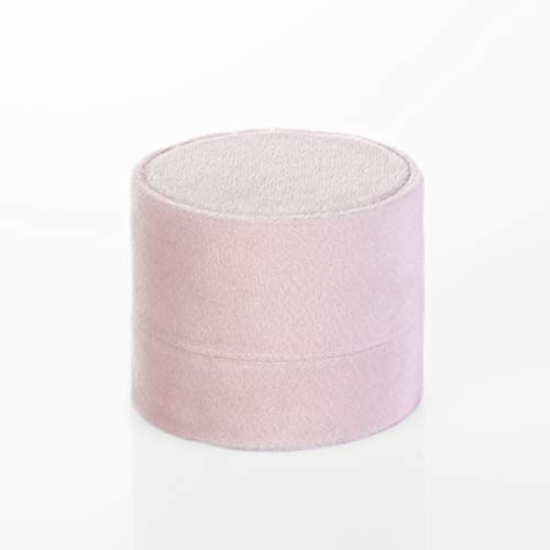 Koyal Wholesale Double Oval Velvet Ring Box, Blush Pink Wedding Ceremony Ring Box with Detachable Lid, 2 Piece Engagement Ring Box Holder, Proposal Idea, Slim Ring Box with -
