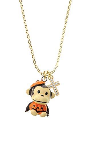 [Resin Monkey in Pumpkin Costume - Crystal Cross Gold Tone Sophia Necklace, 18