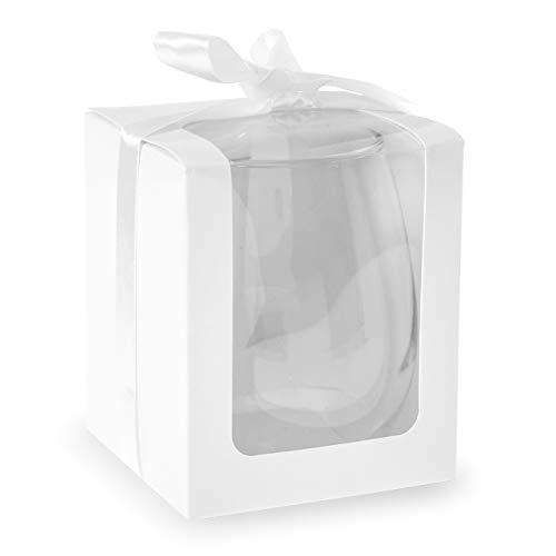 Abby Smith - White 9 Ounce Stemless Wine Glass Display Box, Party Favor, Set of 12 -